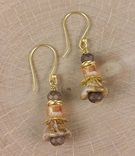 Rustic Flowers in Amber Cream Matte Bronze Earrings in Neutral tones made with Glass Crystals Gold