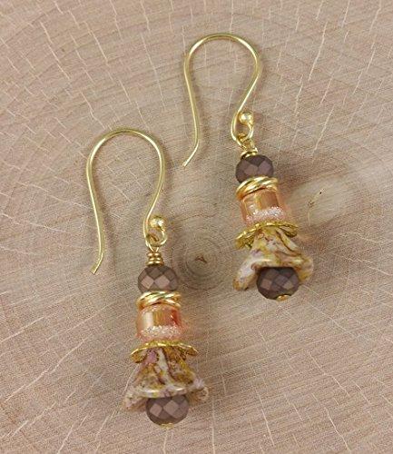 Rustic Flowers in Amber Cream Matte Bronze Earrings - Chinese Hoop Earrings