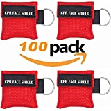 100pcs CPR Face Shield Mask Keychain Emergency Kit CPR Face Shields for First Aid or CPR Training (Red-100)