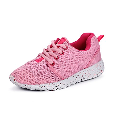 Hawkwell Breathable Lightweight Hook-and-loop Running Shoes(Toddler/Little Kid/Big Kid),Pink Mesh,1 M US