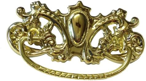 Old Desk Reproduction Restoration Hardware Free Bonus Victorian Brass Drawer Bail Pull Handle Centers: 3 1 P32-B374SB Antique Cabinet Vintage Cupboard Skeleton Key Badge