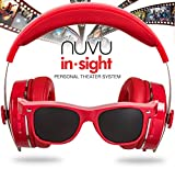 NUVU IN-SIGHT HEADPHONES WITH HD VIDEO GLASSES - VIEW UNLIMITED CONTENT FOR APPLE & ANY DEVICE THAT USES HDMI - RED