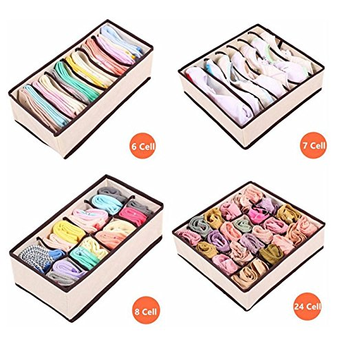 Pcie Gift Box (4PCS Underwear Bra Organizer Storage Box Drawer Closet Organizers Boxes For Underwear Scarfs Socks Bra - Beige)