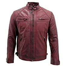 Men's Retro Burgundy Leather Racing Biker Jacket