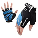 Cycling Mountain Bike Gloves Road Racing Bicycle Gloves Light Silicone Gel Pad Biking Half Finger Gloves Blue