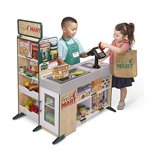51DCWXxgZIL - Melissa & Doug Freestanding Wooden Fresh Mart Grocery Store, Standard, Multicolor