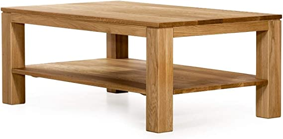 Marca Amazon - Alkove - Hayes - Mesa de centro rectangular de madera maciza con balda (roble salvaje): Amazon.es: Hogar
