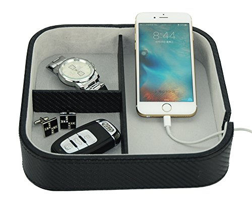 Three Compartment Black Carbon Fiber Catchall Phone Case Coin Tray Valet Tray for Keys, Phone, Jewelry, Valet, Accessories