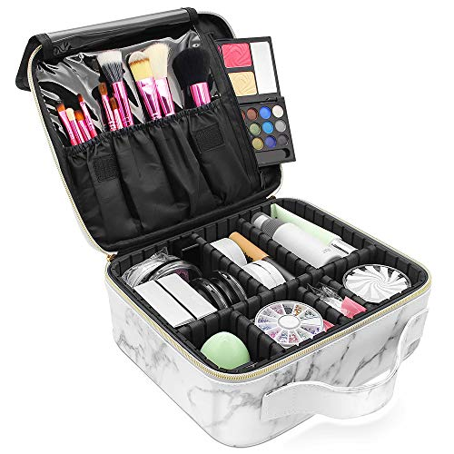 Marble Makeup Organizers and Storage,LKE Cosmetic Bags Waterproof Marble Travel Makeup Train Case Jewelry Travel Organizer with Adjustable Dividers (9.8×8.86×3.7 inches)