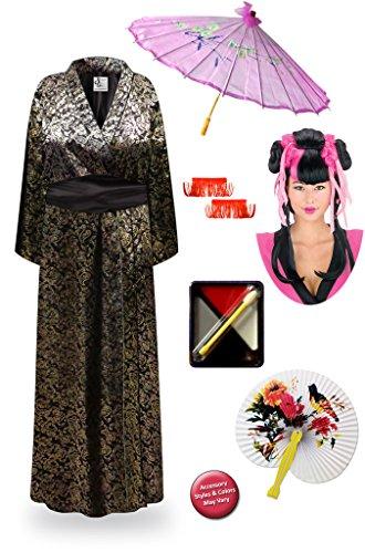 Paisley Geisha Robe Plus Size Supersize Costume - Dlx Pnk/Couture Wig Kit 5x/6x