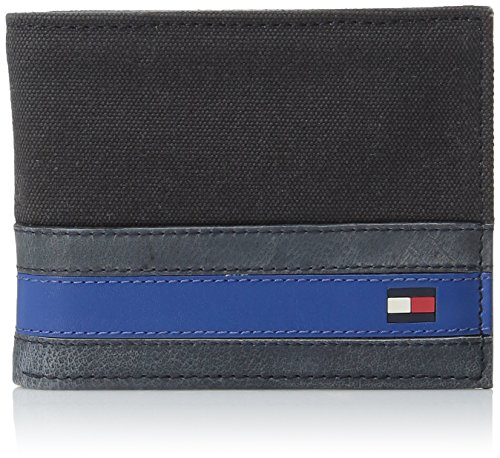 Tommy Hilfiger Wallets for Men - Slim Thin Smart Multipurpose Leather Bifold Passcase with Removable Flipout Card Holder,Exeter Black