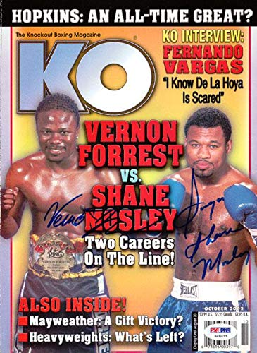 Sugar Shane Mosley & Vernon Forrest Autographed Everlast Magazine #S48415 PSA/DNA Certified Autographed Boxing Magazines