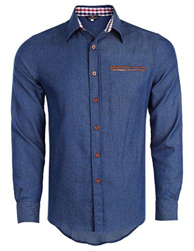 - PAUL JONES Men's Denim Casual Dress Shirt Button Down Shirts Size S PJ63-1
