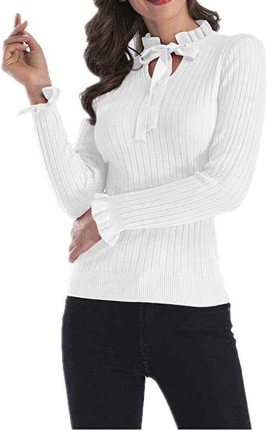 Yisaesa Jersey de Manga Larga con Volantes Corbata para Mujer ...