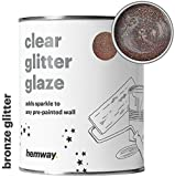 Hemway Clear Glitter Paint Glaze (Bronze) 1L/Quart for Pre-Painted Walls Acrylic, Latex, Emulsion, Ceiling, Wood, Varnish, Dead flat, Matte, Soft Sheen, Silk (CHOICE OF 25 GLITTER COLOURS)