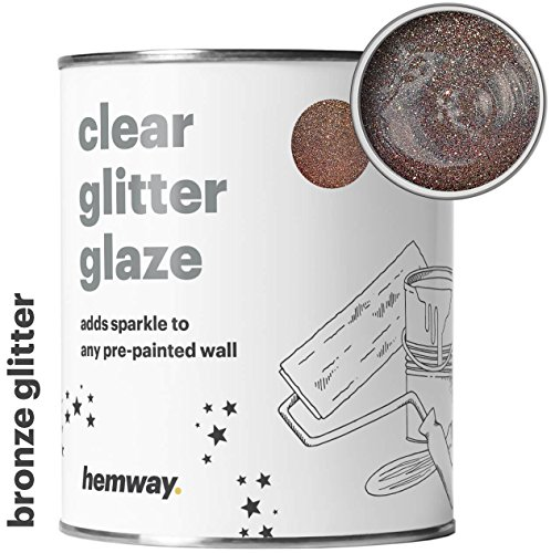 Clear Bronze Wall Flat (Hemway Clear Glitter Paint Glaze (Bronze) 1L/Quart for Pre-Painted Walls Acrylic, Latex, Emulsion, Ceiling, Wood, Varnish, Dead flat, Matte, Soft Sheen, Silk (CHOICE OF 25 GLITTER COLOURS))