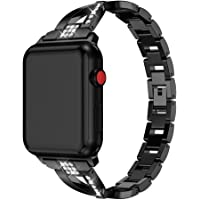 Sunbona for Apple Watch 1/2/3 Bracelet Strap 38mm, Stainless Steel Flash Crystal Sports Replacement Bangle Wrist Band Men Women Accessory (Black)