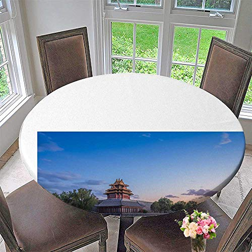 Chateau Easy-Care Cloth Tablecloth Mirror Image. Forbidden City for Home, Party, Wedding 35.5
