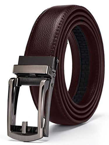 Xholding Men's Genuine Leather Ratchet Dress Belt with Automatic Buckle 1 1/8
