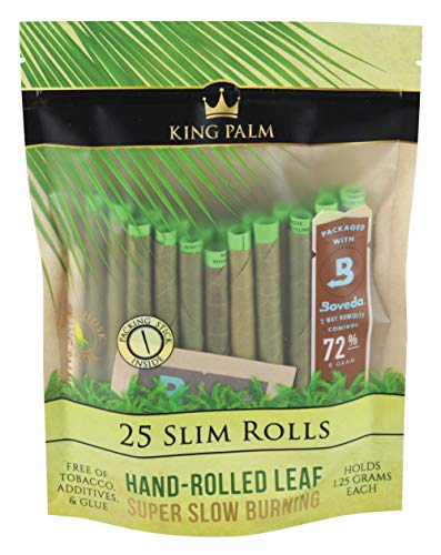 8pc Display - King Palms Hand Rolled Leaf - 25per PK - Slim