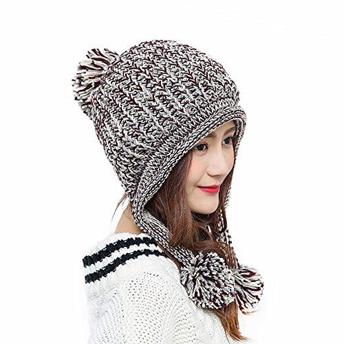 HUAMULAN Women Winter Skull Beanie Hat Peruvian Ski Ear Flaps Fleece Lined Caps Dual Layered Pompoms