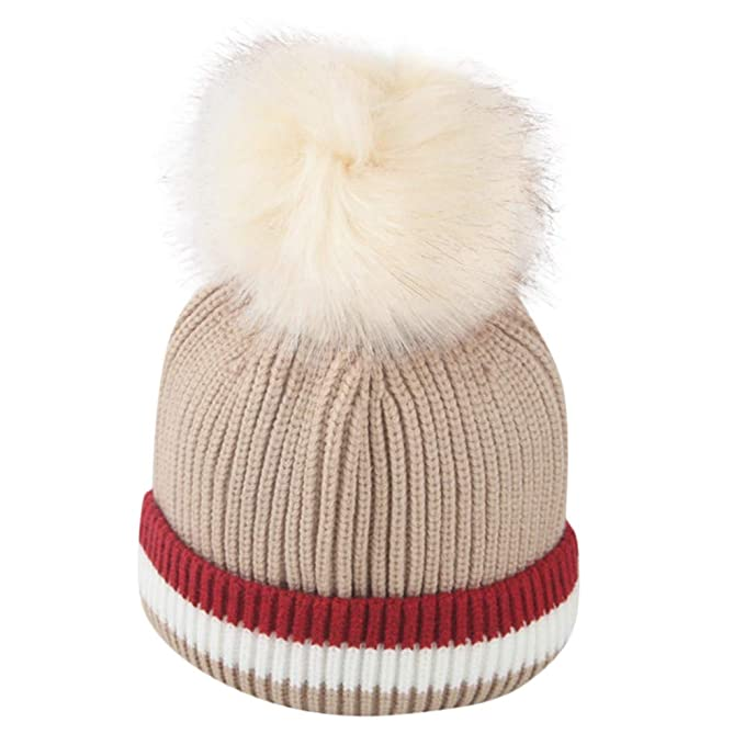 Liqiqi Bambino Cappello Inverno Neonato Bambine Berretto di Lana Knitting  Cappello 🍎 Carino Caldo Pompon Cappello f81121db99b9