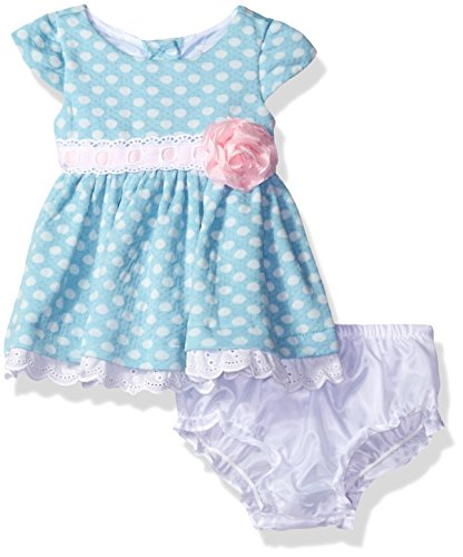 Sweet Heart Rose Baby Girls' Knit Polka Dot Dress and Diaper Cover, Aqua/White, 18M Sweetheart Rose Baby Girl