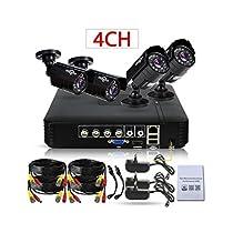 HiSEEu 4 Chanel Security Camera System 1200TVL 720P IR Bullet Outdoor AHD Camera Security System VGA