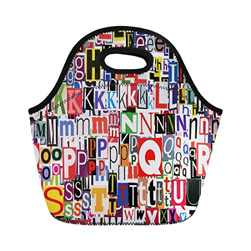 Tinmun Lunch Tote Bag Blue Text Abstract Designed of Newspaper Letters Clippings Green Reusable Neoprene Bags Insulated Thermal Picnic Handbag for Women Men