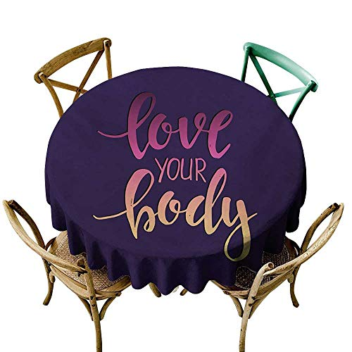 white tablecloth 60 inch Fitness,Love Your Body Hand Drawn Typography Inspirational Positive Attitude,Dark Purple Pink Peach Dust-Proof Table Cover for Kitchen Dinning Tabletop Decoration Edge Juice Attitude Monitor