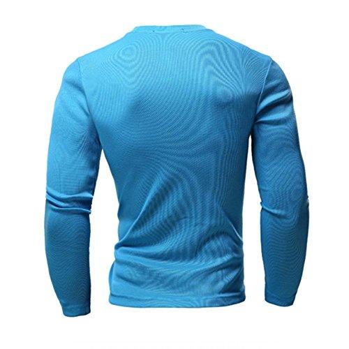 shirt V Laozan À Cou Top Tee Azur Avec Longues T Manches Boutons Homme Pull qffwEz6