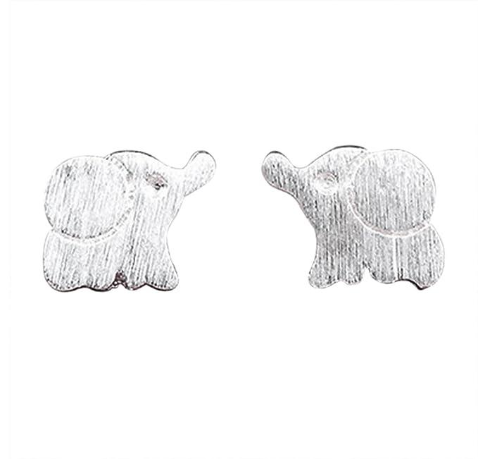 Hosaire Pendientes De Plata De Elefante Scrub Muchachas De Las Mujeres Pendientes De Botón Mujeres De La Joyería Accesorios