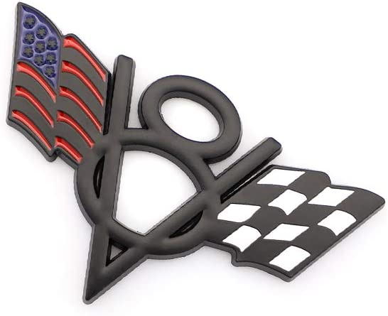 Metal V8 US Racing Flag Car Styling Emblem Badge Fits For Chevrolet Corvette Camaro Fender Trunk Lid Nameplate Decoration Black