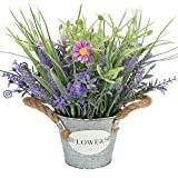 pictures of flower arrangements MIXROSE Artificial Plant Fake Lavender Flowers Purple in Metal Pot 10inch Height for Indoor Home Party Decoration