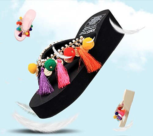CHENGXIAOXUAN Zapatillas De Verano Mujeres Chanclas Al Aire Libre Estilo Étnico Sandalias De Tacón Grueso con Suela Y Zapatillas Zapatillas Informales Zapatos Romanos Personalizados Black