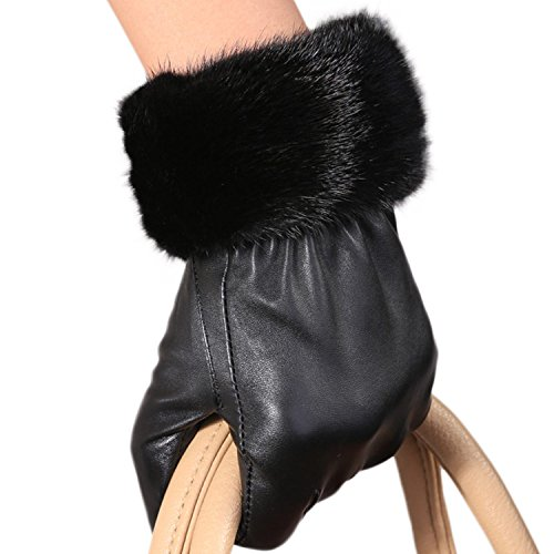 "Mandy's Women's Genuine Nappa Leather Rex Mink Fur New Dress Show Gloves (Large(7.5""-8""), Black)"