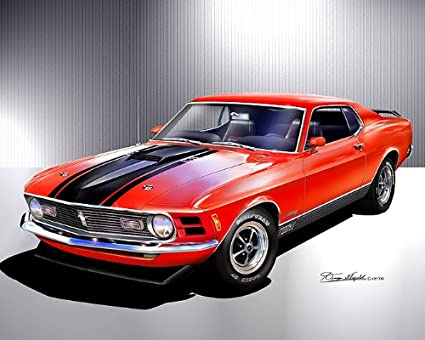 Amazon 1970 Ford Mustang Mach 1 Calypso Coral Art Print