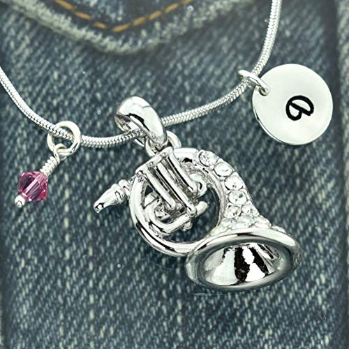 French Horn Customizable Necklace Music Pendant Hand Stamped Personalized Round Initial Letter Charm Sparkling Crystals Birthstone Charm Chain Custom Gift Jewelry