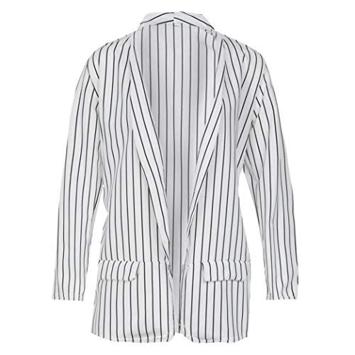 Coat White Sweatshirt Casual Ladies Jacket Blazer Jumper Duster Coat Shirt Women Coat Tops Blouse Long Stylish Sleeve Striped Tomatoa Fashion SqBgw7n