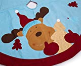 "SANNO 42"" Christmas Tree Skirt,Xmas Tree Skirt Holiday Cute Reindeer Decoration, Sky Blue with Red Edge"