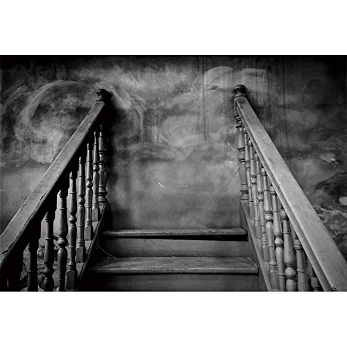 YongFoto 6x4ft Old Wooden Stairway Photography Backdrop Dark Horror Room Background for Photography Interior Stair Indoor Scary Game Halloween Decoration Adult Portraits Studio Props Banner -