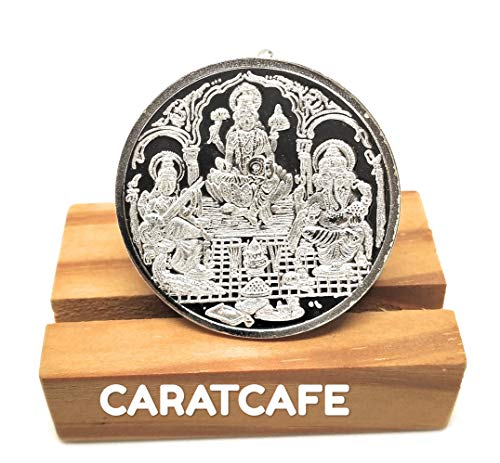 Silver Ganesh Coin - CARATCAFE Pure Silver 999 Coin Trimurti/Ganesh/Saraswati Pure Silver Coins for Wedding Indian Ceremonies