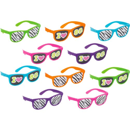 80s Theme Party Ideas (Awesone 80's Party Assorted Color Glasses with Printed Lenses Accessory, Plastic, Standard Size, Pack of 10)