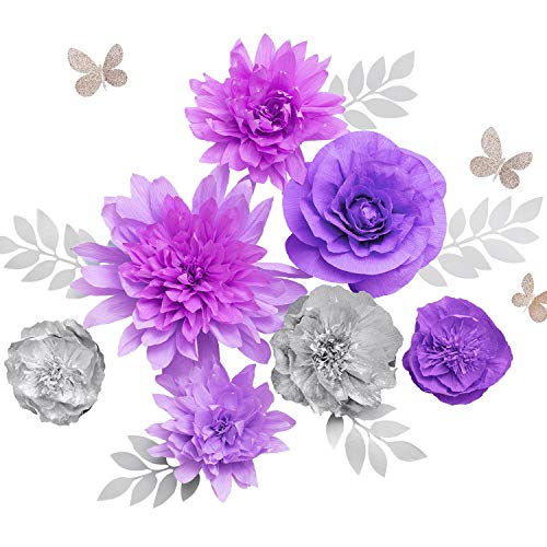 Ling's moment Large Crepe Paper Flowers Set of 7, Handcrafted Rose Dahlia Peony Butterfly Assorted for Baby Nursery Party Wedding Bridal Shower Birthday Centerpieces Anniversary(lilac, purple, ()