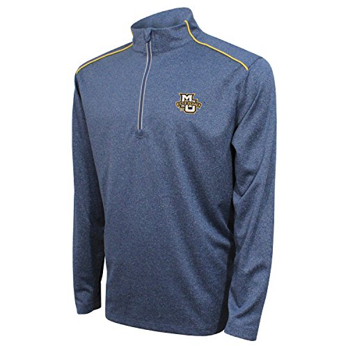 Crable NCAA Marquette Golden Eagles Men's Quarter Zip with Shoulder Piping Polo, Large, Navy/Varsity Gold -