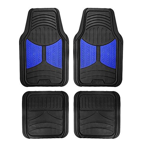Blue Car Mat Set - FH Group F11313 Monster Eye Full Set Rubber Floor Mats, Blue/Black Color- Fit Most Car, Truck, Suv, or Van