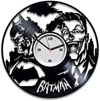 Kovides Batman vs Joker Clock Gotham City Clock Batman Vinyl Wall Clock Joker Vinyl Record Clock Gift