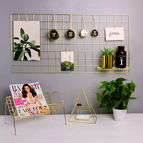 hosaken Grid Panel Photo Wall Multifunction Wire Wall Mesh Display Panel Decorative Iron Rack Clip Photograph Wall Hanging Picture Wall Fashion Art Display & Organizer Gold (37.4 L x 17.7 W)