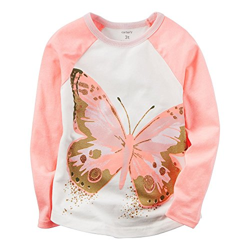 Carter's Girl's Raglan Long-Sleeve Butterfly Tee; Peach & Cream (4) Carters Long Sleeve Raglan Tee