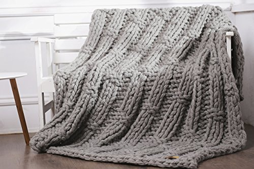 Chunky knit blanket, Wool knit blanket, Chunky wool blanket, Merino wool blanket, Wool blanket, Knit throw, Knit wool blanket, Knitted throw, Gray, Merino wool, Made to order